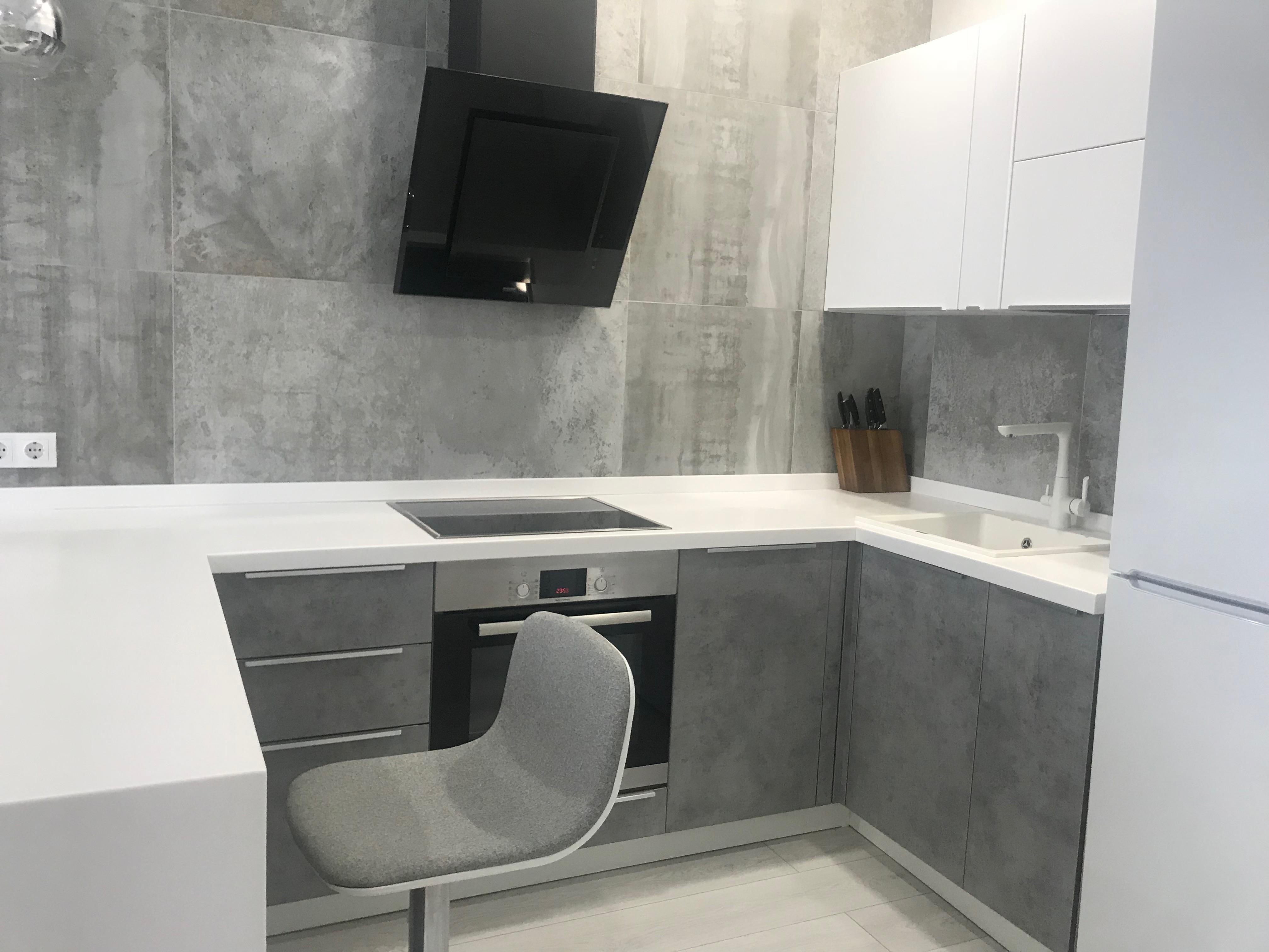 Кухня бетон серый заказать миксер бетона омск